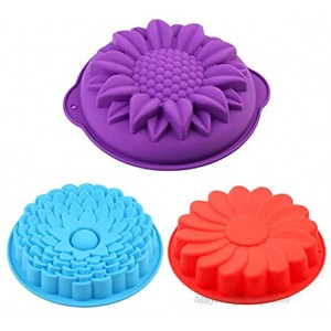 AILEHOPY Silicone Cake Molds Bread Pie Flan Tart Molds Large Round Sunflower Chrysanthemum Shape Non-Stick Baking Trays for Birthday Party DIY -Blue Red Purple