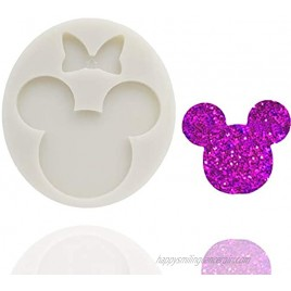Cute Mouse Head Bow Silicone Mold for DIY Chocolate Candy Pudding Gum Paste Cupcake Cake Topper Decoration Desserts Jelly Shots Handmade Ice Cream Ice Cube Crystal Soap Mould Fondant Mold