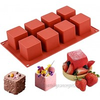 JOERSH 3D Square Silicone Mold | 2 x 2 x 2 Square Mousse Cake Baking Mold Dessert Molds for Cheesecake Jelly Brownie Soap Candle 8-Cavity