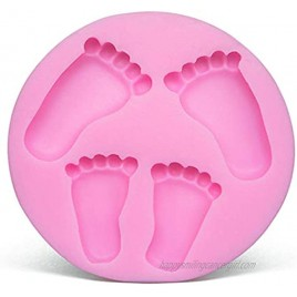 OBTANIM Silicone 3D Baby Foot Fondant Mold Baby Shower Cake Topper Decoration DIY Baking Mould for Sugarcraft Cake Chocolate and Crafting