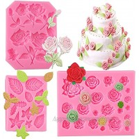 Rose Flowers and Leaves Fondant Silicone Candy Molds Set Candy Silicone Molds Set for Chocolate Fondant Polymer Clay Soap Crafting Projects & Cake Decoration 3 pack