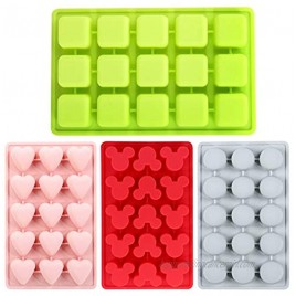 Silicone Mold for Chocolate Candy and Ice Tray 4pcs Includes Circular Square Mouse and Heart-Shaped Mold Trays
