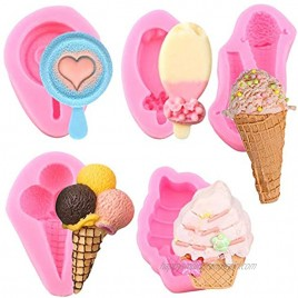 5pcs Mini Summer Ice Cream Cone Popsicle Silicone Mold DIY Party Baby Birthday Cupcake Fondant Decor Tools Candy Clay Chocolate Gumpaste Moulds