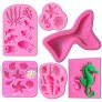 6Pcs Ocean Marine Theme Cake Fondant Silicone Mold Mermaid Tail Seahorse Seashell Conch Starfish Coral Fish Under the Sea Handmade Pastry Baking Molds for Cookie Chocolate Candy Decoration