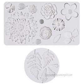 LARCISO 2 pieces Fondant Mold with Flower and Leaf shapefor Cake Decoration Silicone Mold Resin Sugarcraft Mold for Cupcake Topper Candy Chocolate cookie Polymer Clay Crafting Baking Mould