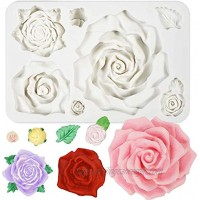 Large Roses and Flower Bud Fondant Candy Silicone Mold for Cake Decoration Cupcake Topper Chocolate Epoxy Resin Jewelry Casting Homemade Soap Candle Making 7 Cavity Sizes Assortment 13x8.6x2.3cm