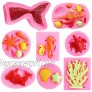 Marine Theme Fondant Silicone Mold Mermaid Tail Molds Sea turtle Conch Starfish Shell Coral Mermaid Silicone Mold Set  8 PACK