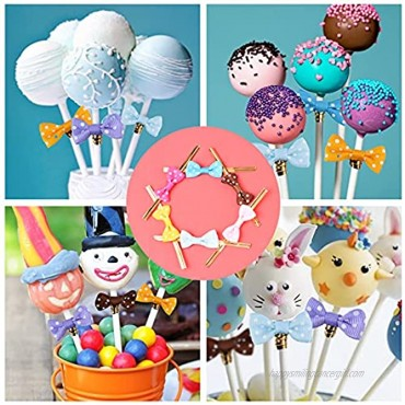 320Pcs Cake Pop Sticks and Wrappers Lollipop Sticks Cake Pop Bags with Metallic Twist Ties Bow for Making Lollipops Cookies Candies Chocolates