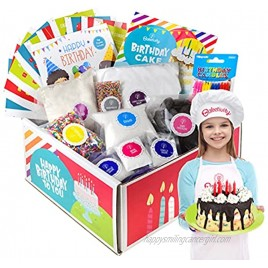 Baketivity DIY Birthday Cake Decorating Set for Girls and Boys. Box includes all Pre-Measured Ingredients Birthday Candles Chef Hat and Apron. Perfect for Birthday Gift for Kids Teens and Adults.