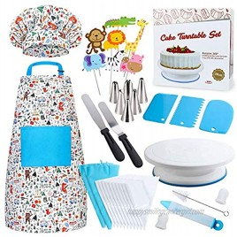 Cake Decorating Kit for Kids 38 Pcs Cooking and Baking Gift Set for Girls and Boys Includes Real Kids Apron Chef Hat Cake Turntable Supplies for The Curious Junior Chef Ages 4+ Years