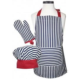Handstand Kitchen Child's Bold Navy Stripe 100% Cotton Apron Mitt and Chef's Hat Set