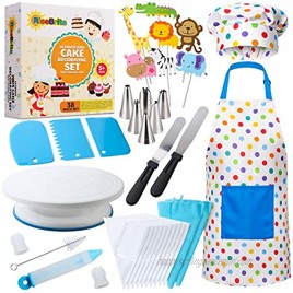 RISEBRITE Cake Decorating Kit for Kids Baking Set for Girls and Boys – 38 Pcs Gift Set includes Kids Apron Chef Hat Cake Decorating Tools Cooking and Baking Supplies for The Curious Junior Chef