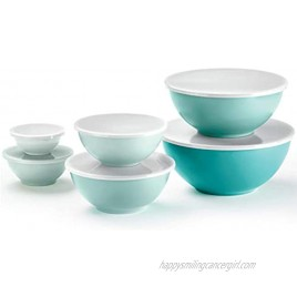 6-Piece Nesting Melamine Mixing Bowl Set with Lids Teal Assorted Colors