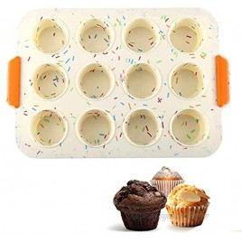 12 Grids Silicone Cake Mold Muffin Chocolate Pastry Baking Tray with Grips Non Stick Cupcake Pan Manual Kitchen Baking Maker for Party Festival Dishwasher Microwave Oven Safe