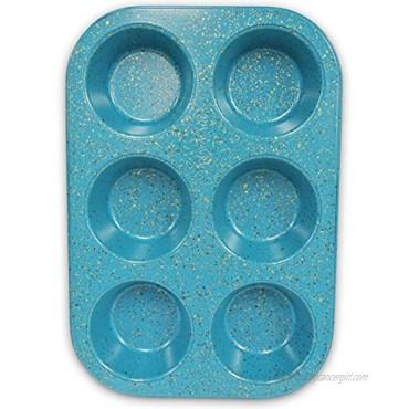 casaWare Toaster Oven 6 Cup Muffin Pan NonStick Ceramic Coated Blue Granite