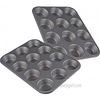 Muffin Pan Nonstick Carbon Steel Muffin and Cupcake Baking Pan Set of 2 12 Cups Each