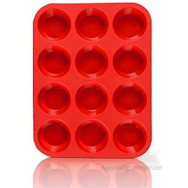 Non-Sticky Silicone Muffin Pan—Muffin Molder for Muffins and Cupcakes—Cupcake silicone molder—Baking Accessory—12 X Muffin Molders 12 Hole-Red-New-1 PCS