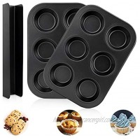 peinat Muffin Pan 2PCS Cupcake Pan and 1PCS U-shaped Cranberry Mold Nonstick Muffin Top Pan Black Muffin Tins for Baking Carbon Steel 6-Cup Mini Cupcake Pans Dishwasher and Oven Safe