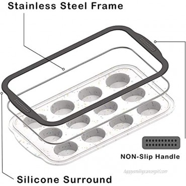 Silicone Cupcake Baking Pan SIENON Non-Stick Silicone Muffin Pan with Reinforce Stainless Steel Frame Inside 12 Cup Muffin Baking Mold 12 Cup Muffin Tin BPA Free Dishwasher-Microwave Safe 2 Pack