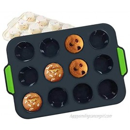 Silicone Mini Muffin Pan 12 Cup Non-stick Cupcake Pan Food Grade Tins Egg Muffin Baking Silicone Molds With Grips BLACK