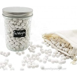 1.2 Lb Pie Weights in 16oz Mason Jar 10 mm Ceramic Baking Beans with Linen Bag All Natural Material Great for Blind Baking