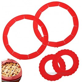 """4 Pack Adjustable Pie Crust Shield 2 Pack 8.5""""-11"""" SiliconePie Crust Protector Shield +2 Pack 3.6""""-6.3"""" Mini Silicone Pie Shields for Baking Pie Pizza"""