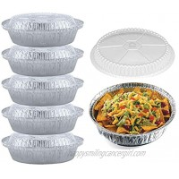 55 Pack 7 Inch Round Aluminum Pans with Clear Plastic Lids. Round Tins for Baking and Food Transport. Round Foil Pans. Pie Tins Perfect for Pies Quiche Nachos and Pastries by Spare Essentials