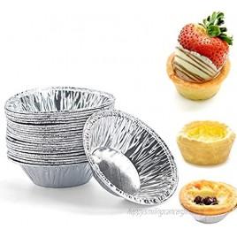 50 Pcs Small Mini Aluminum Tart Pans Disposable Aluminum Foil Mini Tart Pie Pans Pie Pan Portuguese Tart Baking Mold Mini Tart Pie Tins for Baking Supplies
