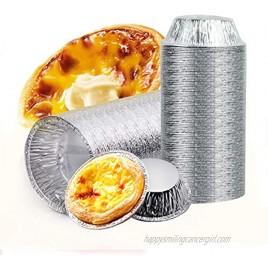 Aluminum Foil Tart Pan Egg Tart Pan Freezer & Oven Safe Disposable Aluminum Round Egg Tart Tin Foil Pans for Baking Supplies 50