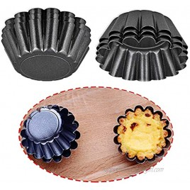 Pack of 6 Egg Tart Molds Mini Tartlet Pans Cookie Pudding Mold Carbon Steel Mini Pie Pans Muffin Baking Cups Cupcake Cookie Lined Mold Reusable Quiche Pan 3.0 x 1.65 x 0.9 inch black