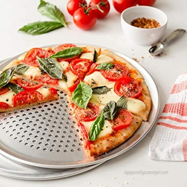Chef Pomodoro Pizza Pan Bundle: 12 Perforated & 12 Flat Nonstick Pizza Tray Bundle 2-Piece Set Bakeware