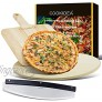 CookIdea Pizza Grilling Stones Baking Set for Oven and BBQ Set of 3 Including Round Pizza Stone Diameter 15'' Pizza Peel and Pizza Cutter for Pizza Making at Home