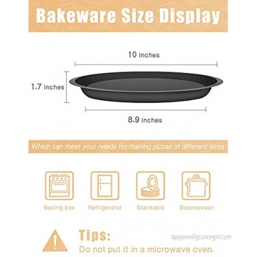 Lausine Non-Stick baking pan pizza stone for oven bread pan nordic ware baking sheet for Cooking baking 10inch Black