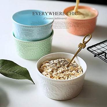 BonNoces Porcelain Embossed Ramekins Souffle Bowls Dishes 6 Oz Pudding Bowls Dishes Cup for Baking Set of 5
