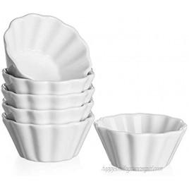 DOWAN Creme Brulee Ramekins 6 Oz Oven Safe Porcelain Souffle Custard Cups Dishwasher Safe and Microwave Safe Flower-Shaped Condiments Cups Set of 6 White