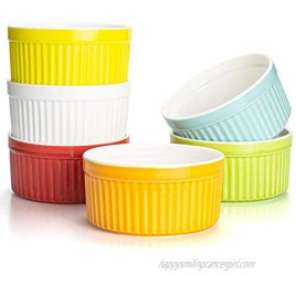 Foraineam Set of 6 Pcs 8 oz Porcelain Souffle Dishes 6 Colors Oven Safe Ramekins Bakeware Set Dessert Custard Baking Dishes Cups for Souffle Creme Brulee and Ice Cream