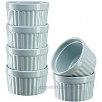 Kook 10 oz Porcelain Ramekins Oven Safe For Baking Pot Pies Creme Brulee Lava Cake Soup Set of 6,