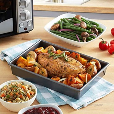 Chicago Metallic 26639 Petite Roast Pan with Rack Grey 10-Inch-by-7-Inch