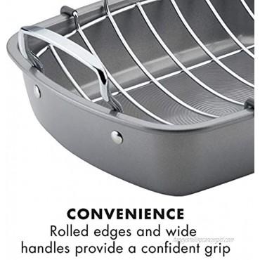 Circulon Nonstick Roasting Pan Roaster with Rack 17 Inch x 13 Inch Gray