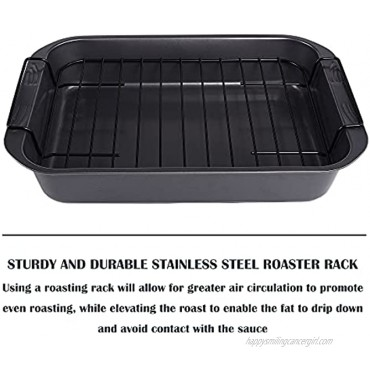 kitCom Bakeware Nonstick Roaster Nonstick Roasting Pan with Rack Great For Roast Chicken Roasts And Turkeys 15 Inch x 11 Inch 4.5 QT  Gray