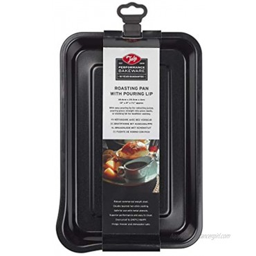 Performance Roasting Pan with Pouring Lip Professional Gauge Carbon Steel with Whitford Eclipse Non-Stick Coating Roasting and cooking tin Easy Release 30.6 x 20.3 x 4cm