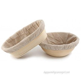 10 Inch Oval Bread Proofing Basket and 10 inch Round Bortform Bannetons Bread Proofing Basket Proving Basket Bowl with Bread Lame Dough Scraper Linen Liner Cloth for Professional & Home Bakers
