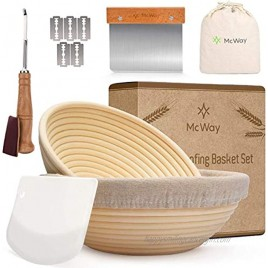 Banneton Proofing Basket Set of 2 9 + 10 inches Round Bread Proofing Baskets for Sourdough Plastic Bowl Scraper Tool Dough Scoring Blade A Bread Making Kit for Any Bread Baker
