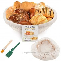 Bread Proofing Basket 10 Round Tobepico Brotform for Bread and Dough [Free Brush] Professional & Home Bakers Bread Make Proofing Rising Rattan Bowl 1000g Dough + 1 Free Liner + 1 Bread Lame