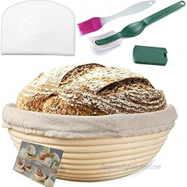 Bread Proofing Basket 9 Inch Banneton proofing basket Bread Basket+Bread lame+Dough Scraper +Proofing Cloth Liner for Sourdough Bread Baking Tools for Home Baker