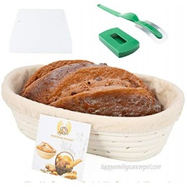 Eosray 10 Inch Oval Shaped Bread Proofing Basket Set + Bread Lame + Dough Scraper + Linen Liner Cloth for Professional & Home Bakers French Style Artisan Sourdough Banneton 100% NATURAL RATTAN…