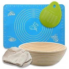 Life's 5 Little Wonders Banneton proofing basket 10 inch with liner bread making kit includes baking mat and dough scraper bread rising basket set for perfect crusty bread every time