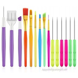15pcs Cookie Decorating Brushes Set Fondant Cake Tool and Cookie Scriber Needle for Cookie Fondant Cake Decoration