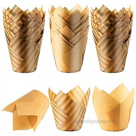 150 Pieces Tulip Style Cupcake Baking Cups Baking Paper Cups Muffin Liners Wrappers for Weddings Birthdays Baby Showers Christmas