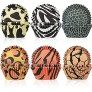 600 Pieces Animal Print Cupcake Liners Leopard Baking Cup Wrappers Zebra Tiger Giraffe Muffin Standard Sized Muffin Cupcake Decorations for Birthday Wedding Party Baby Shower Supplies